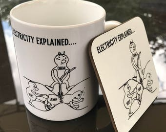 Electricity Explained - Electricians Mug and Coaster Gift Set
