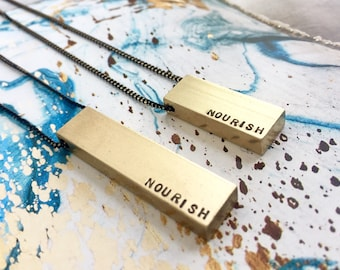 End Hunger Cause Foodie Jewelry, Nourish Necklace, Bar Necklace, Engraved text necklace, Mantra necklace