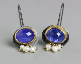 Tanzanite Earrings with Freshwater Pearl Clusters, 22k, 18k Gold and Oxidized Sterling Silver