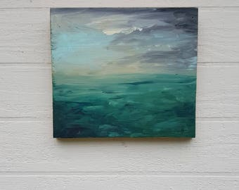 Teal Waters, Original Acrylic Painting on Found Wood Panel. Upcycled Artistry