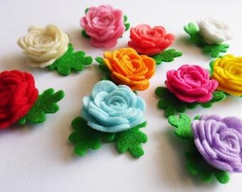 Aplique rosas colores variados, rosas fieltro,figuras fieltro