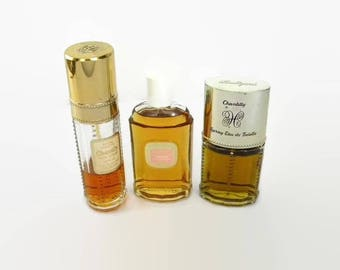 Vintage Chantilly Perfume by Houbigant Cologne Concentrate, Eau de Toilette Spray, Pre-Owned in Hand Crocheted Pouches