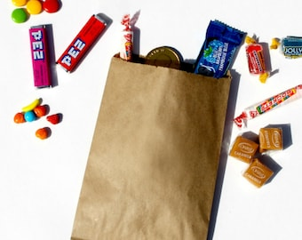 Candy Bags, Kraft Paper Bags, White Paper Bags, Favor Bags, Candy Buffet Bags, Notion Bags - Kraft Brown or White - Plain/Blank - 50 count