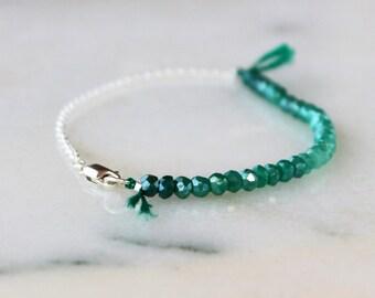 Green Onyx Ombre Bracelet, Beaded Bracelet, Ombre Jewelry, Gemstone Bracelet, Sterling Silver, Color Spectrum, Layering Bracelet, Boho Style