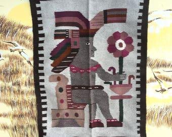 Vintage tribal rug Peruvian, Aztec rug Mayan, Mexican rug wool fringe, bohemian boho rug vtg, Native rug kilim, ethnic folk art woven rug