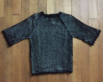 CLEARANCE vintage 1960s blouse // 60s black wool mesh top
