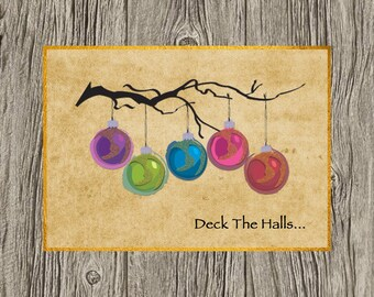 Deck the Halls Photo Christmas/Holiday Card,  Personalized Card, Photo Card, Front and Back Card