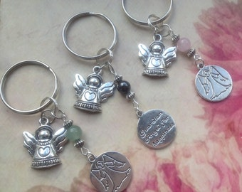 Angel Keyring.Guardian Angel Gemstone Keychain.Aventurine. Rose Quartz.Hematite.Keyring of Love.Keyring of Abundance. Keyring of Protection.