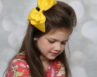 Yellow 6 inch Hair Bow, Extra Large Hair Bow, Yellow Hair Bow, XL Hair Bow.