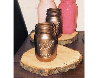 Blush pink, rose gold, & pink mason jar centerpieces