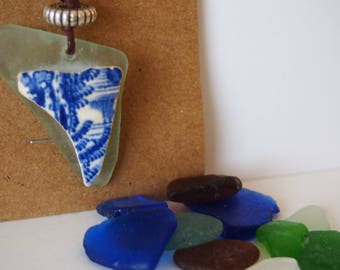 Blue Triangle Seaglass Necklace