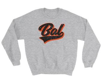 Baltimore Baseball Script Sweatshirt, Vintage Baltimore Sports Sweater