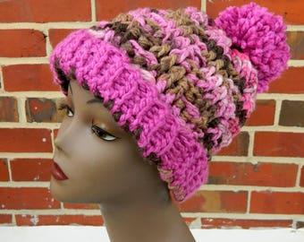 Textured Crochet Beanie Pom Pom Hat Chocolate Cherry Cupcake