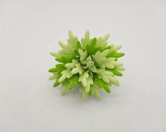 Minty Green Leafy  enamel Flower brooch