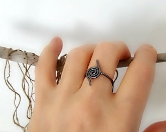 Hurricane Ring, Symbolic Ring, Solid Copper, Hammered Symbol, Tropical Storm Ring, Dark Patina, Spiral Typhoon Ring, Warrior - Made to Order