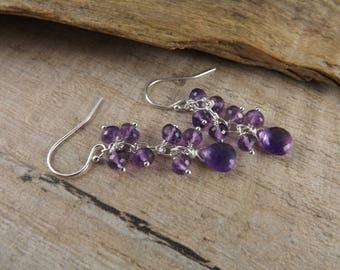 Amethyst earrings~silver and gemstone earrings~dangle earrings~gemstone earrings~purple earrings~gemstone earrings~gemstone tassel earrings