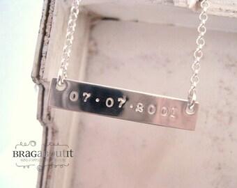 Sterling Silver Bar Halskette. Von Hand gestempelt Schmuck. Personalisierte Halskette. Sterling Silber Halskette. Darüber prahlen