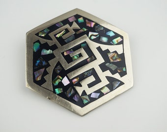 Aztec Style Alpaca Mexican Hexagon Abstract Abalone Shell Brooch Pendant
