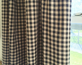 Black And Cream Gingham Curtains