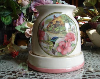 Green Hummingbird in an English Garden!  Electric Ceramic Tart Burner