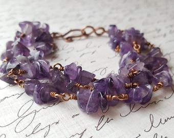 Amethyst Chip Bracelet - Copper Wire Wrap Bracelet - Purple Gemstone Bracelet - Multi Strand Bracelet - February Birthstone - Boho - Gypsy