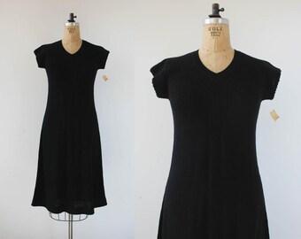 vintage 1970s dress / 70s sweater dress / black a line dress / 70s LBD / 70s knit dress / 70s NOS dress / 70s NWT dress / Barbara Lee / S M