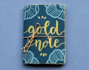 "Handmade mini notebook, writers journal, handprinted mini journal, writers gift, gift for her, ""Gold"""