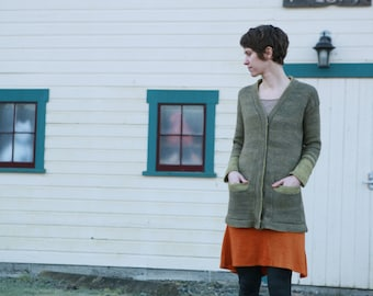 Picea Drop Shoulder Simple Pockets Cardigan Sweater PDF Knitting Pattern