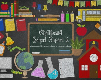 Chalkboard School Clipart 2 - Back to School Clipart, School clip art, Chalk stationery, school bus, computers, science, digital blackboard