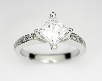 Solitaire engagement ring, Princess cut, Made to order