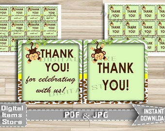 Printable Monkey Thank You Tag - Favor Tag Monkey Jungle - Thank You Tag - Favor Thank You Tag Monkey Green Brown - Instant Download - jm1