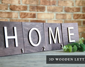 """Personalized Wooden Letters 5.5"""" , Family Name Tiles, Large Letter Tile, Home Gallery Wall Décor, Rustic Home Décor,  5th Anniversary Gift"""