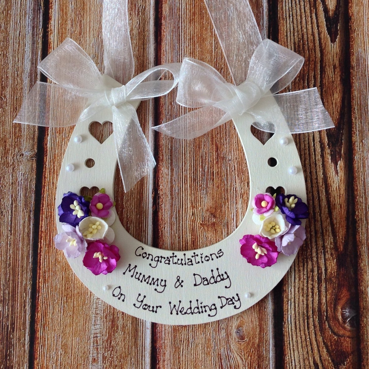 Horseshoe Wedding Gift: Personalised Wedding Horseshoe Keepsake Gift To Bride And