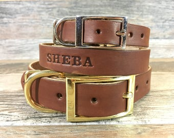 Leather Dog Collar, Personalized Brown Leather Dog Collar with FREE Name, Pick Your Font