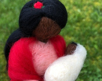 Latina Mother and Baby Waldorf Doll Needle Felted Doll set