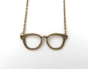 Glasses necklace, glasses jewelley, nerd necklace, spectacles necklace, spectacles, bronze glasses necklace,