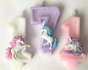 Unicorn Glitter Number Candles