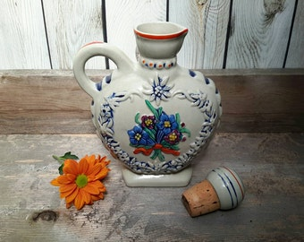 VINTAGE WEST GERMAN alcohol jug or vase with graphics of folk dancers and flower heart
