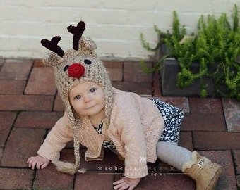 Reindeer Hat - Baby Reindeer Hat -  Children's Reindeer Hat - Winter Deer Hat -  Cute and Soft Ear flap - by JoJosBootique