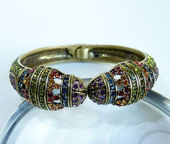 HEIDI DAUS BRACELET ~ Vintage Heidi Daus Clamper Bracelet ~ Heidi Daus Museum Maddness MCJ25 ~ Multi Stone Swarovski Pave Crystals