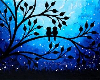 Love birds art Print Birds on tree wall art Nightscape art Blue artwork Small love birds painting Print starry night art Giclee print 5x7