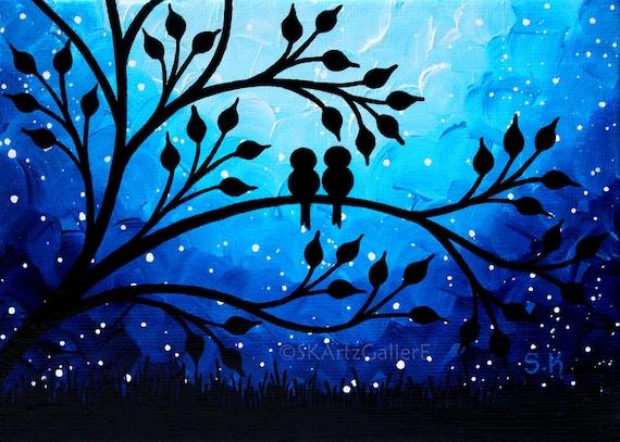 Love Birds Art Print Birds On Tree Wall Art Nightscape Art