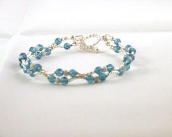 """Sterling Silver Teal Blue Swarovski Crystal Bracelet 7"""" Long"""