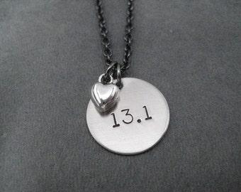 13.1 LOVE Necklace - Half Marathon Necklace Gunmetal chain - Running Jewelry - Run Necklace - 13.1 Running Necklace - First Half Marathon