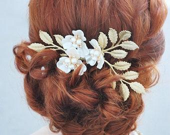 Bridal Gold Leaf Comb