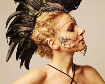 Black feather mohawk / Feather headdress
