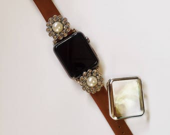 """Leather Apple Watch Band 38mm 42mm Women Bands Cover 38 42 1927 """"Brown Leather with Detachable Pearl Flora Charms"""" Silver Adapters TimeKits"""