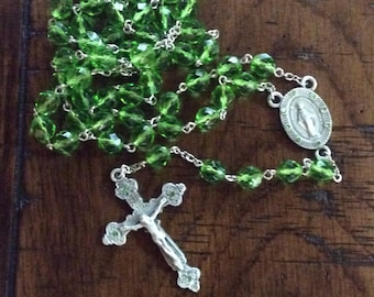 BIRTHSTONE ROSARY - Pewter and Crystal