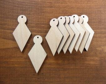 """Wood Earrings Diamond Shape Pendants 2"""" H Laser Cut Wood Jewelry Making - 25 Pieces"""