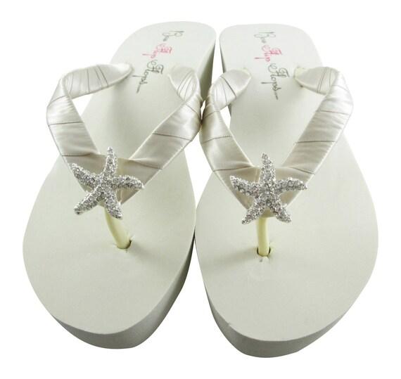 93822c7d94efce ... flip flop sandal Champagne bling Flops ivory Starfish shoes bridesmaid  Oatmeal Wedge flat white Bridal platform ...